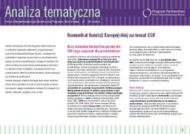 """Analiza Tematyczna """"Komunikat Komisji Europejskiej na temat CSR"""""""