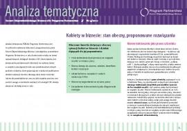 """Analiza Tematyczna """"Kobiety w biznesie: stan obecny, proponowane rozwiązania"""""""